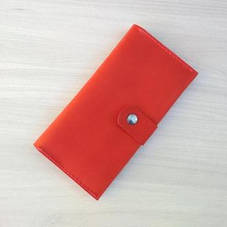 Большой красный длинный женский кожаный кошелек