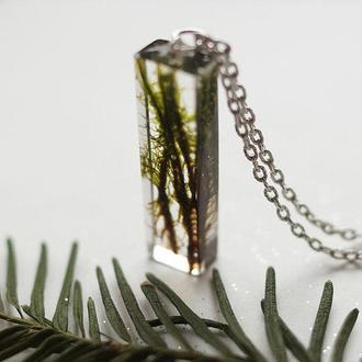Кулон-кристалл со мхом
