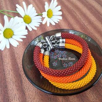 Терракотовый оранжевый коричневый тройной браслет из бисера на магнитной застежке