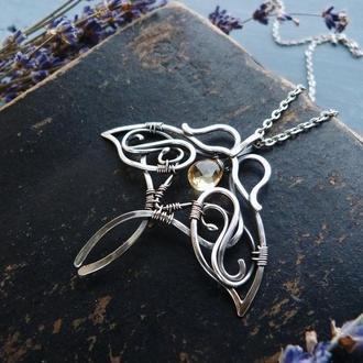 Срібний кулон Метелик з цитріном