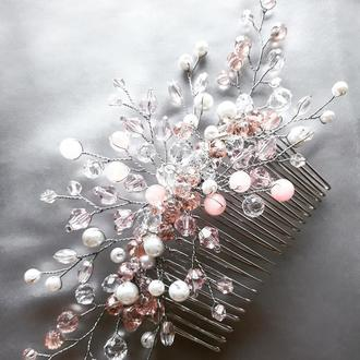 """Свадебный гребень """"Ice crystal"""" из хрустальных бусин"""