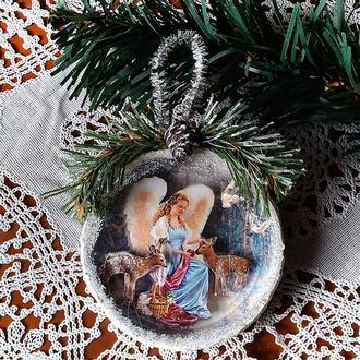 Подвеска медальон на елку Украшения на елку ручной работы
