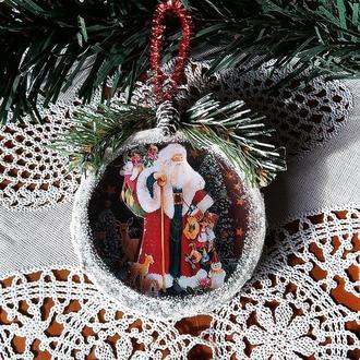 """Подвеска медальон на елку """"Дед Мороз"""" Елочные игрушки"""