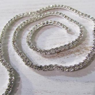 Плотная Стразовая лента ( цепочка) размер SS6 диаметр страз- 2 мм для вышивки, декора украшений