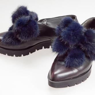 Меховые банты из меха натуральной норки — клипсы для обуви