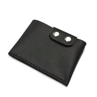 Черный кожаный маленький мужской кошелек