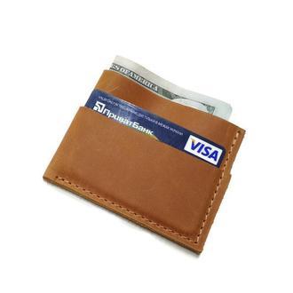 Коричневый кожаный маленький картхолдер визитница кошелек