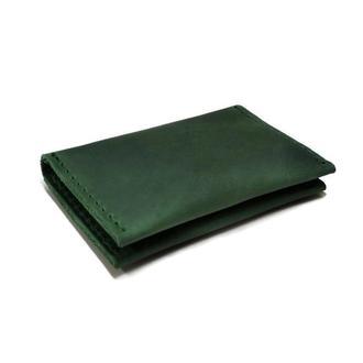 Зеленый кожаный маленький картхолдер визитница