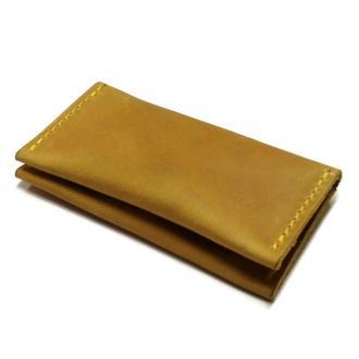 Желтый кожаный маленький карманный визитница картхолдер