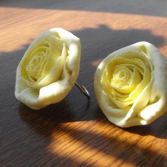 """Серьги из полимерной глины """"Желтые розы"""""""