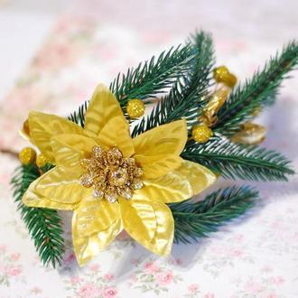 Обруч ободок с пуансетией на Новый год