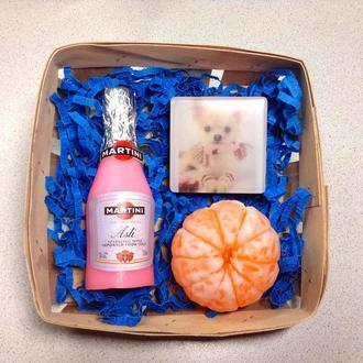 "Сувенирное мыло, набор  "" Мартини, мандарин и квадрат """