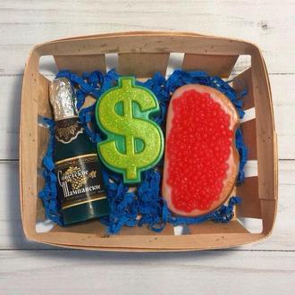 """Сувенирное мыло, набор  """" Шампанское, доллар и бутерброд с красной икрой """""""