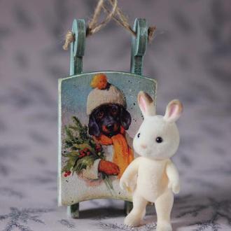 Санки декоративные/елочная игрушка