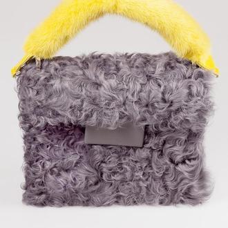Сумка «Кучеряшка» из натурального меха козы, комбинированная с натуральной кожей.