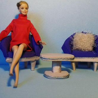 Мебель для куклы. Кресла и столик для Барб