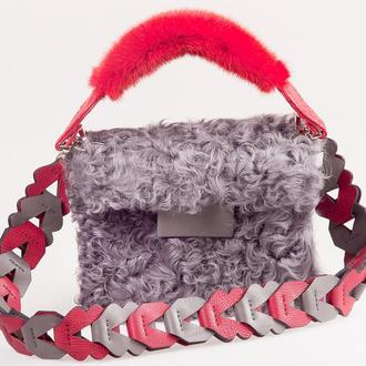 Меховая ручка к сумке из норки с окончаниями из кожи крокодила, съемная. Real fur, Real leather.