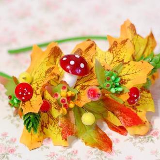 Обруч ободок с листьями на одну сторону на праздник осени