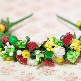 Обруч ободок с ягодами клубники (малины)