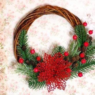 Новогодний Рождественский венок интерьерный венок с пуансетией