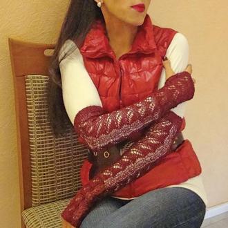 Митенки - перчатки без пальцев богатство шелка бордо