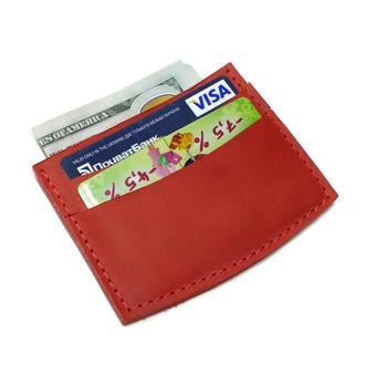 Красный кожаный маленький кошелек картхолдер визитница