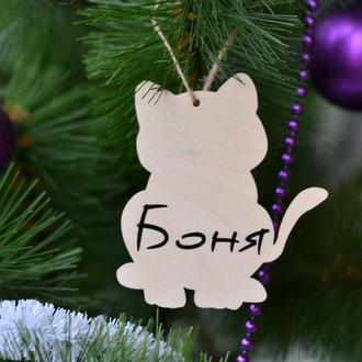 Игрушка на елку в форме кота