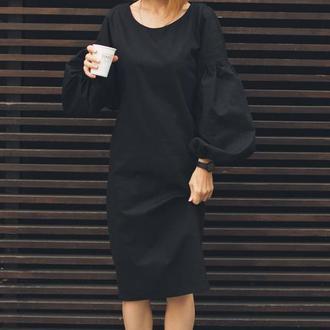 Черное платье из льна (лён), платье миди, натуральная ткань, пышный рукав