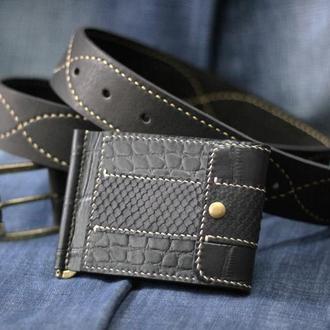 Кожаный ремень + кожаный зажим для купюр
