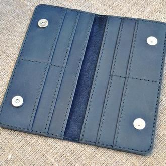 Портмоне темно-синего цвета из кожи на кнопках K55-600+black