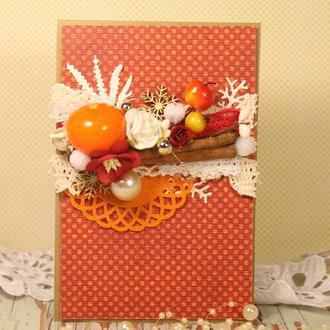 """Скрап-открытка  """"Новогодняя мандаринка"""""""
