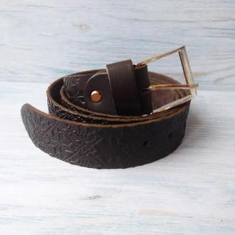 Мужской кожаный ремень темно-коричневая вышиванка