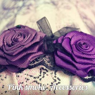 Украшение, ободок с розами для волос, обруч на голову, венок, цветы на обруче.