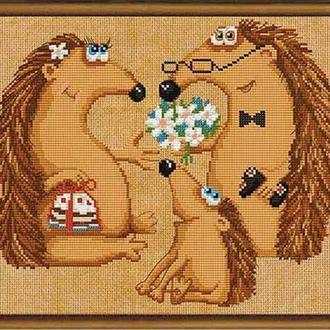 Набор для вышивания нитками и бисером 'Семья ежей'