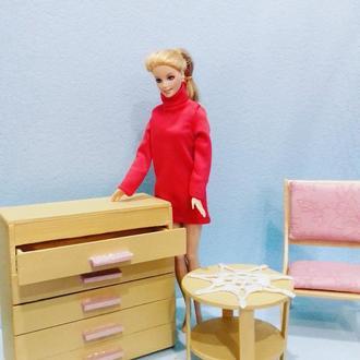 Мебель для кукол. Комод с выдвижными ящиками