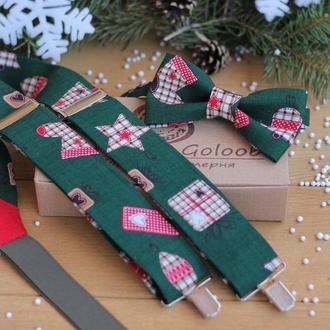 """Подтяжки и бабочка """"Новогодний подарок"""" (темно-зеленый)"""