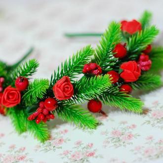 Новогодний обруч ободок красный елка