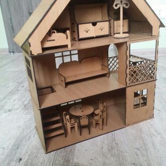 Деревянный набор мебели для кукольного домика (размер лалалупси)