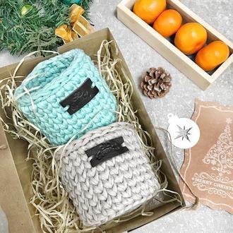 Набор вязаных корзинок подарочный