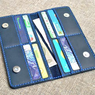 Красивый темно-синий кошелек из натуральной кожи K55-600+blue