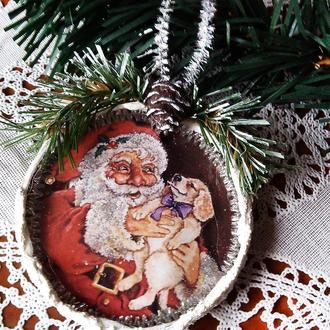 Подарки ручной работы на новый год 2018  Символ 2018 года Собака Подвеска медальон на елку