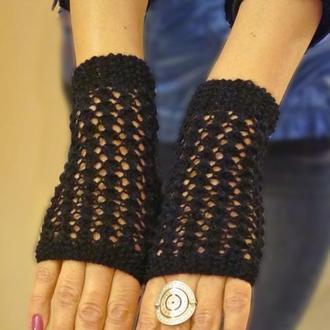 Митенки - перчатки без пальцев японский ажур