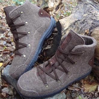 Мужские валянные ботинки из натуральной шерсти