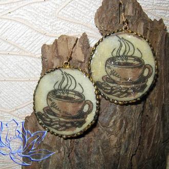 Серьги с декупажем-2 (кофе), холодный фарфор