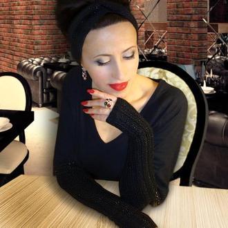 Митенки - перчатки без пальцев, повязка на голову - stylish black