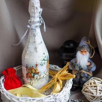 Новогоднее оформление шампанского ′Тройка′