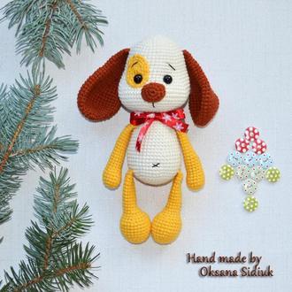 Вязаная крючком игрушка собака, собачка амигуруми, игрушка щенок