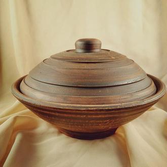 Гончарная тарелочка с крышкой для приготовления утренней овсяночки)