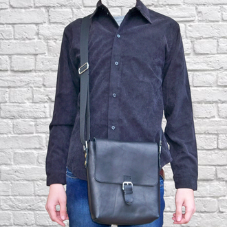 Кожаная сумка через плече City x3 black