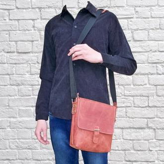 Кожаная сумка через плече City x3 cognac